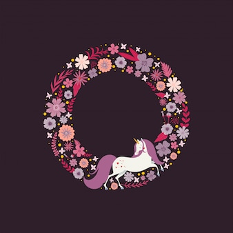 Cute round frame with a magic unicorn surrounded by flowers.