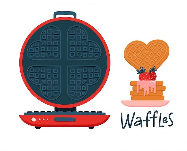 かわいいラウンドワッフルアイロン漫画モチーフセット。食品ブログ、ハートのグラフィック、朝食のデザインの手描きキッチン要素。図