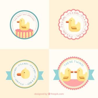 Cute rubber duck label set