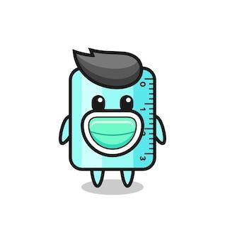 마스크를 쓴 귀여운 통치자 만화, 티셔츠, 스티커, 로고 요소를 위한 귀여운 스타일 디자인