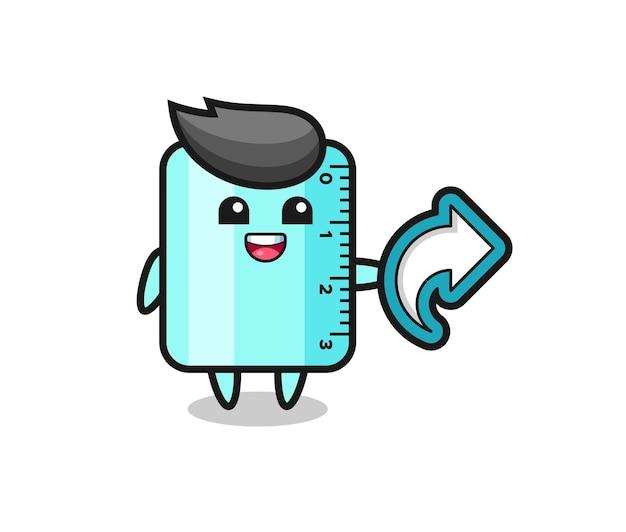 Cute ruler hold social media share symbol , cute style design for t shirt, sticker, logo element