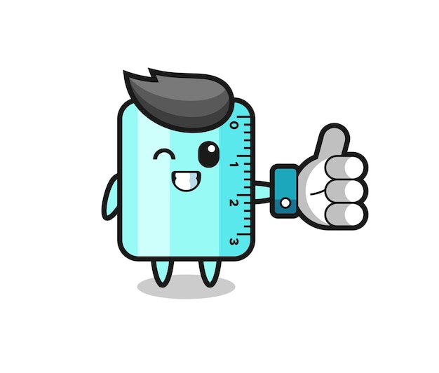 Cute ruler with social media thumbs up symbol , cute style design for t shirt, sticker, logo element