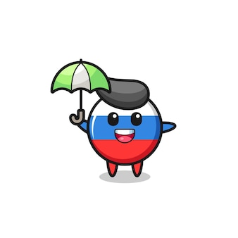 우산을 들고 있는 귀여운 러시아 국기 배지 그림, 티셔츠, 스티커, 로고 요소를 위한 귀여운 스타일 디자인