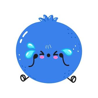 かわいい悲しくて泣いているブルーベリーのキャラクター