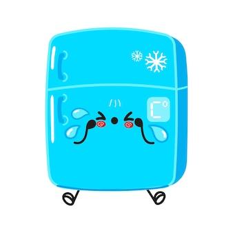 かわいい悲しくて泣いている冷蔵庫のキャラクター