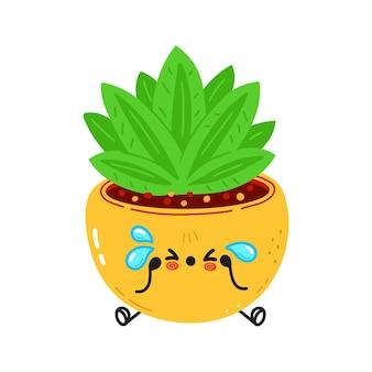 귀엽고 슬프고 우는 실내 식물 캐릭터