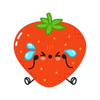 かわいい悲しくて泣いているイチゴのキャラクター