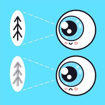 Симпатичный грустный и счастливый человеческий глазный орган смотрит на персонажа дерева