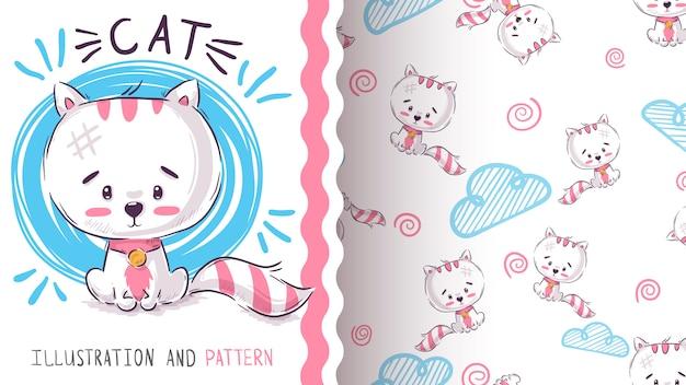 Cute sad cat - seamless pattern