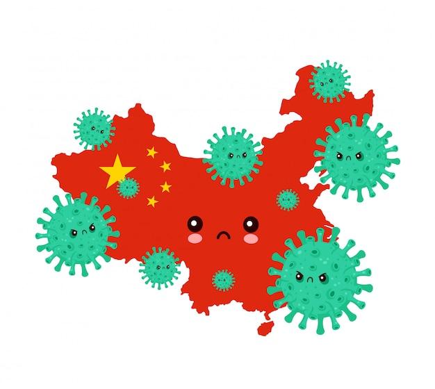 Cute sad china attacked coronavirus infection.