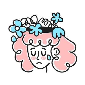 머리 안에 시든 꽃을 가진 귀여운 슬픈 외침 여자. 나쁜 기분, 정신 우울증, 감정적인 개념입니다. 벡터 만화 캐릭터 그림 아이콘입니다. 흰색 backgound에 고립. 소녀, 우울증 예술의 여자