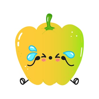 Cute sad and crying colored pepper character