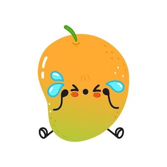 Cute sad and crying mango character