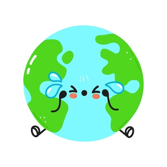Cute sad and crying planet earth character