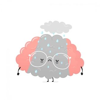 Милый грустный подавленный человеческий мозг. дизайн значка иллюстрации персонажа из мультфильма. изолированный на белой предпосылке