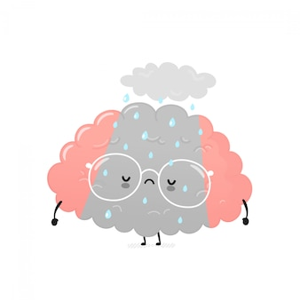 Cute sad depressed human brain. cartoon character illustration icon design.isolated on white background