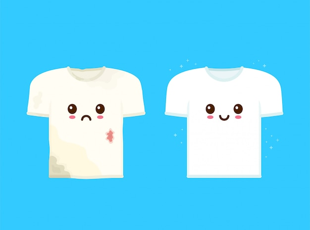 Cute sad dirty t-shirt with stains and happy smiling clean t-shirt