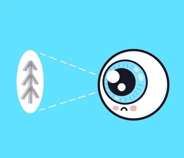 Cute sad human eyeball organ look on tree character
