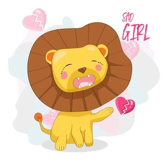 Cute sad lion