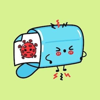 바이러스 기호가 있는 귀여운 슬픈 사서함 문자