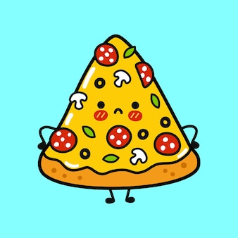 Милый грустный персонаж пиццы
