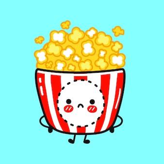 Cute sad popcorn character
