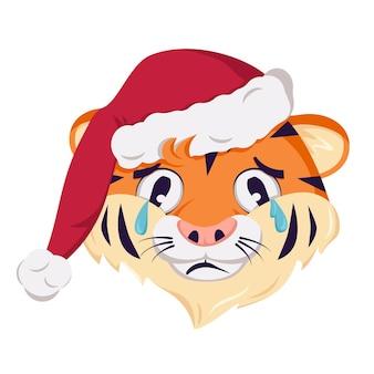 Милый грустный персонаж тигра, символ нового года в красной рождественской шапке. дикие животные африки с эмоциями плач и слезы, праздничное украшение. векторная иллюстрация плоский