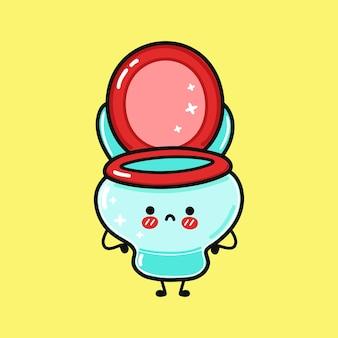 Cute sad toilet character