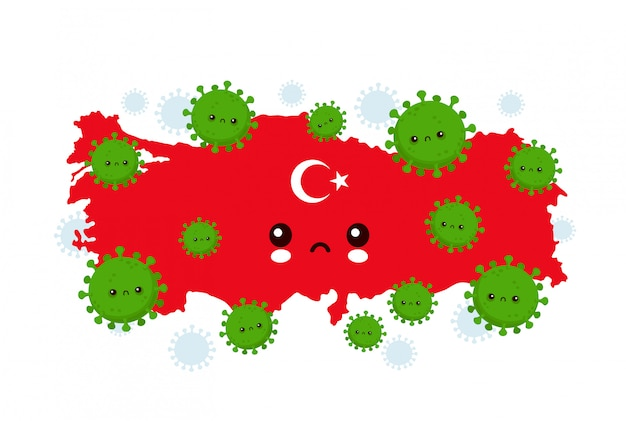 Cute sad turkey attacked coronavirus infection.  flat style cartoon character illustration