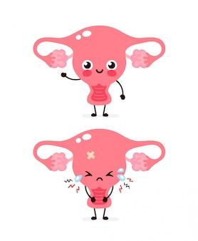 Cute sad unhealthy sick and strong healthy smiling happy uterus organ.