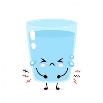 かわいい悲しい水のガラス。フラット漫画キャライラスト。白い背景で隔離。水キャラコンセプト