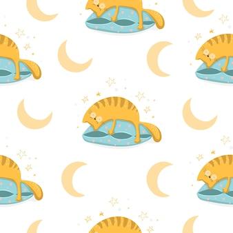 흰색 배경, 벡터 일러스트 레이 션에 베개에 슬리핑 고양이와 귀여운 saemless 패턴 배경