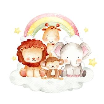 Cute safari animal on the cloud watercolor illustration