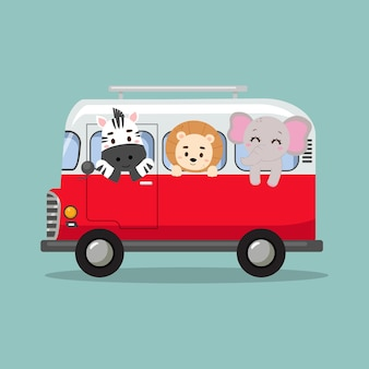 Симпатичные сафари животные катаются в автомобиле фургон плоский векторный мультяшный дизайн