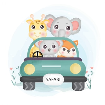 Cute safari animals  siting on a car in water color style.