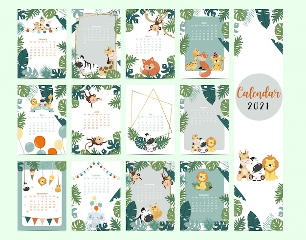 Cute safari calendar 2021 with lion, giraffe, zebra, fox, monkey for children, kid, baby
