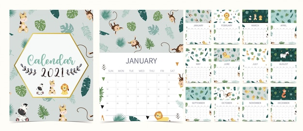 Cute safari calendar 2021 with lion, giraffe, zebra, fox, monkey