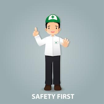 Милый мужчина безопасности мультфильм проведение указательный палец и ручная остановка