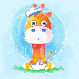 Cute sailor baby giraffe
