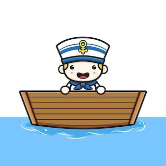 かわいい船乗りがボートの漫画のアイコンのイラストに乗る。孤立したフラット漫画スタイルをデザインする