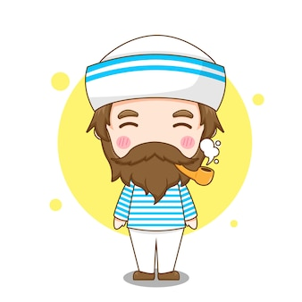 파이프와 귀여운 선원 남자 캐릭터