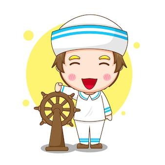 Милый моряк управляет рулем