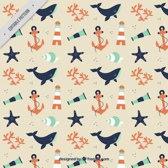 クジラや要素を持つかわいい水兵パターン