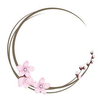 벚꽃 꽃과 함께 귀여운 사쿠라 화환 라운드 프레임