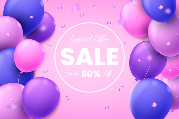 Cute sale background with balloons