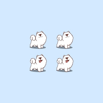 Cute samoyed dog cartoon set