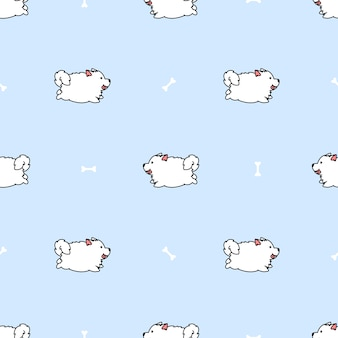 Cute samoyed dog running cartoon seamless pattern