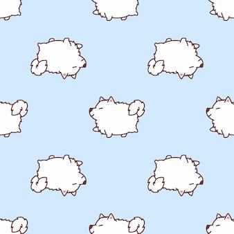 Cute samoyed dog walking cartoon seamless pattern