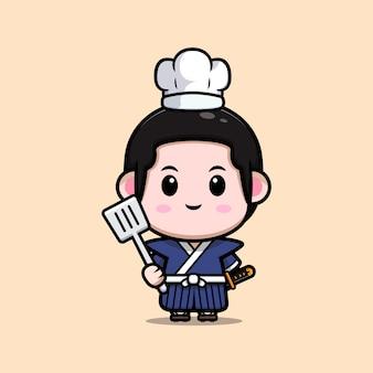 Симпатичная иллюстрация талисмана шеф-повара мальчика-самурая