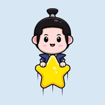 Симпатичный мальчик-самурай, плавающий со звездным талисманом Premium векторы